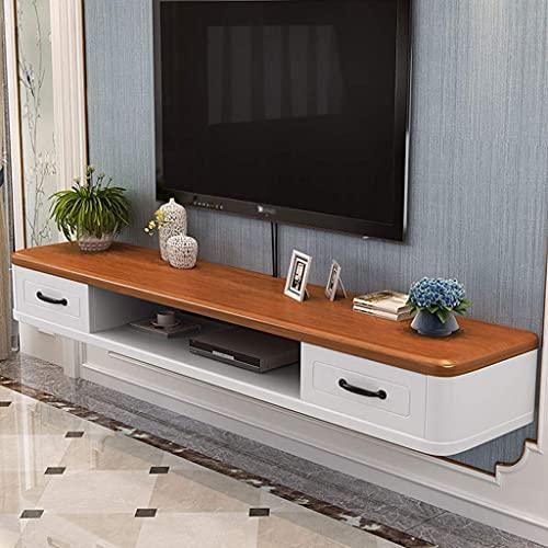 Mobile Porta TV Mobile, Console multimediale a Parete Ripiano portaoggetti Ripiano per componenti Porta TV sospeso con 2 cassetti per decoder Via Cavo Router Lettore Dvd Casa Uffic