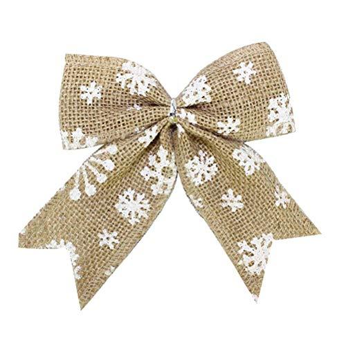 SUPVOX 10pcs noeud en toile de jute avec flocon de neige cravate solide lin de Hesse rustique chanvre ensachant, par Bow Tie House arbre de Noël ornement