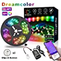 Dreamcolor Chasing Effect Dynamic Pulsated Music-Sync LED Tape Light Kit for Home Interior, Parties, Static 5050 RGB IP65 Waterproof Strip Lights with Built in IC