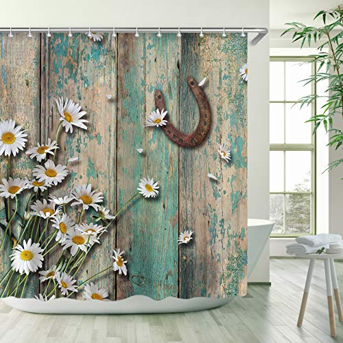 Stacy Fay Rustic Shower Curtain, Rusty Horseshoe Daisy Old Barnwood Western Fabric Bathroom Curtain with Hooks Country Farmhouse Style Artwork Retro Teal Bathroom Decor, 72x72 Inches Machine Washable