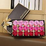 18ピースセットバスフラワーギフトボックス付きバレンタインデーウェディングローズ用女性の顔花びらシミュレーション(ピンク)
