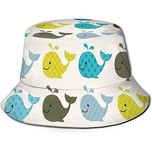 Gorra de Pescador, Coloridas Ballenas punteadas Cuadrados líneas Animales, Sombrero de Playa...