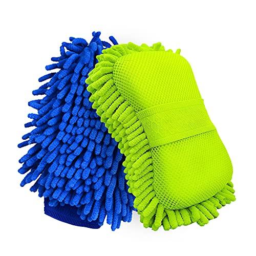 Botocar 2 Pack Car Wash Mitt and Car Wash Sponge, Microfiber Car Wash Mitt for Car Detailing, Extra Large Super Absorbent Soft Chenille Car Wash Sponge, Scratch-Free(Green)