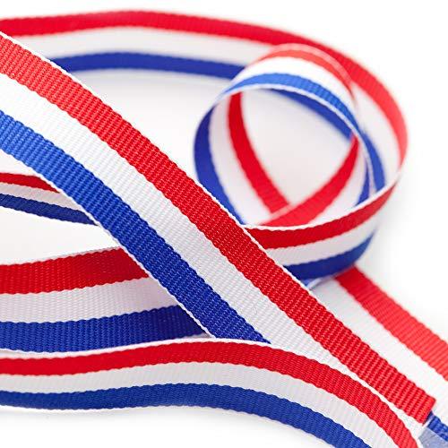 TRIXES Bobine de Ruban en Nylon Décoratif Tricolore Français de 45 m x 10 mm Bleu Blanc Rouge pour Fête Nationale Française Artisanat Bannières Patriotiques Célébrations Nationales
