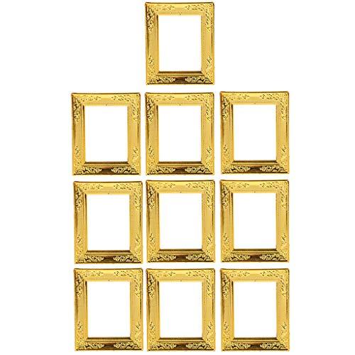 FLAMEER 10 Stücke Mini Golden Rahmen Bilderrahmen Fotorahmen Wanddeko für 1:12 Puppenhaus Dekoration
