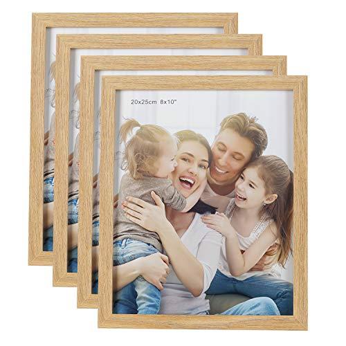 HelaAccueil 4er Set Holzbilderrahmen Bilderrahmen 20x25 cm, aus MDF mit Hochauflösende Glas (Holzfarbe, 8x10'')