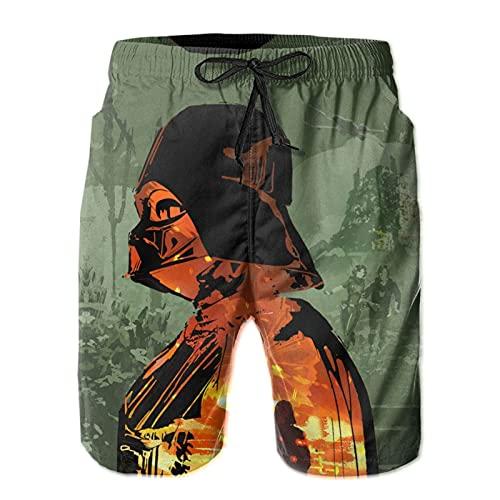 Los pantalones cortos de playa para hombre Star Darth Vader Wars son ligeros y transpirables, suaves y cómodos, de moda para hombres modernos para nadar y surfear dibujos animados de anime, blanco, M