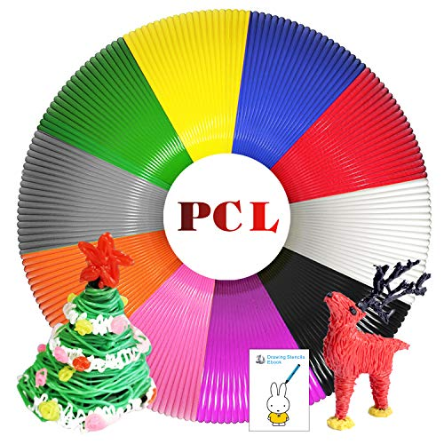 Sunfuny PCL 3D Pen Filament Refills 1.75mm, 10 Colors, Each Color 16.4 Feet, 164 Feet Total, Low Temperature 3D Pen PCL Filament, Non-Toxic, High-Precision