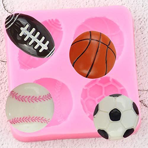 Sport Ball Silikon Formen Fußball Basketball Tennis Fondant Kuchen, derWerkzeuge DIY Partei Süßigkeit SchokoladeMoulds