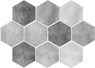 Adesivos de azulejos de 10 peças para decoração de parede de azulejo de chão à prova d'água com efeito de cimento hexagona...