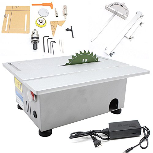 Woodworking Table Saw Bench T5 Mini Precision Table Benchtop Blade Lathe DIY Polisher 24V Electric Woodworking Carving Machine Craft Cutting Tool 7000/Min Speed