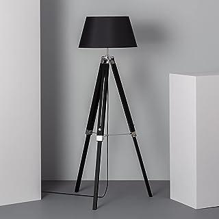 LEDKIA LIGHTING Lampadaire Naweza 1440x650x650 mm Noir E27 Aluminium - Bois pour Décoration Salon, Chambre, Cuisine