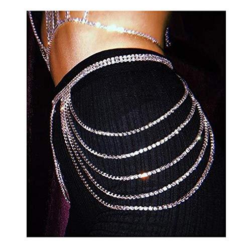 Rhinestone Body Chains Jewelry Waist Chain Crystal Body Chains Summer Beach Waist Body Jewelry Belly Hip Chain Jewelry for Women (Silver)