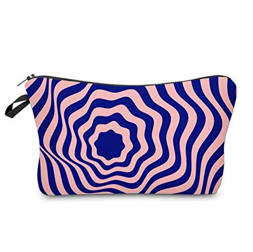 Yhhzw Kosmetiktaschen 3D-Gedruckte Lila Gestreifte Taschen Reißverschluss wasserdichte Make-Up-Tasche