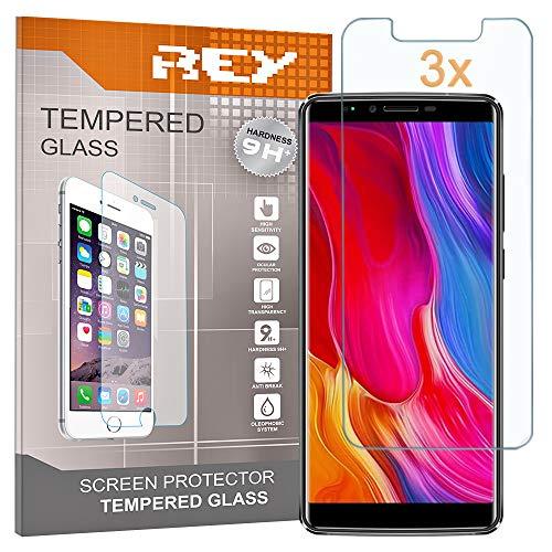 REY 3X Protector de Pantalla para OUKITEL K8, Cristal Vidrio Templado Premium
