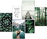 artpin® Juego de pósteres modernos de color verde, ¡Sin marco! Bosque, montañas, refranes. 4 x A3 | 2 x A4 - W8