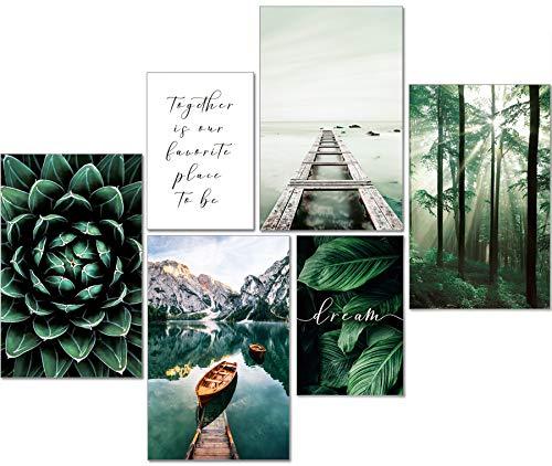 artpin® Moderne Poster Set Natur- Bilder Wohnzimmer Deko Schlafzimmer - Wanddeko Ohne Bilderrahmen Collagen - Wald Holz Grün 4x A3 | 2x A4 - W8