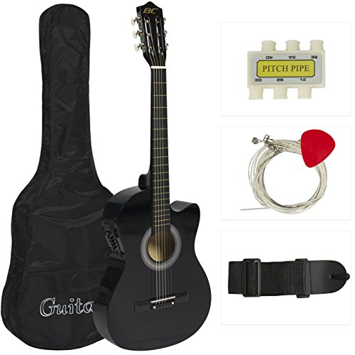 Best Choice Products 38in Beginners Acoustic Electric Cutaway Guitar Set w/Case, Extra Strings, Strap, Tuner, Pick (Blue)