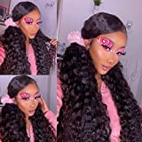 12A 26 Inch Brazilian Virgin Human Hair Wigs Water Wave Ear To Ear Lace Frontal Wig with Baby Hair 100% Unprocessed Remy Lace Front Wig Pre Plucked Natural Hairline Lace Wigs (26,13x4 water wave )