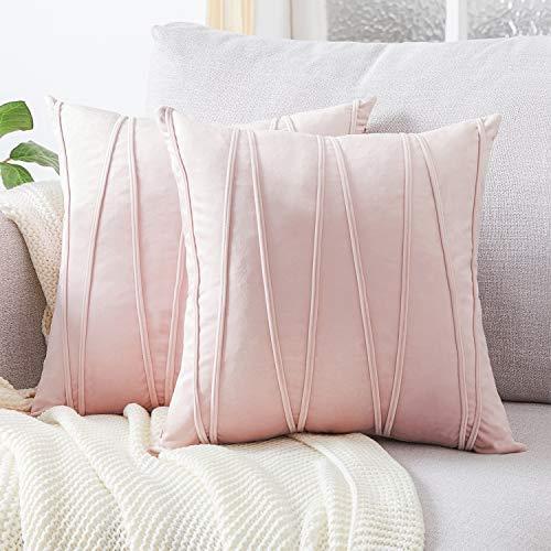 Topfinel Samt Kissenbezüge 45x45cm 2er Set Kissenhülle Gestreift als Dekokissen Sofakissen mit Verstecktem Reißverschluss für Sofa und Terrasse Büro Pink