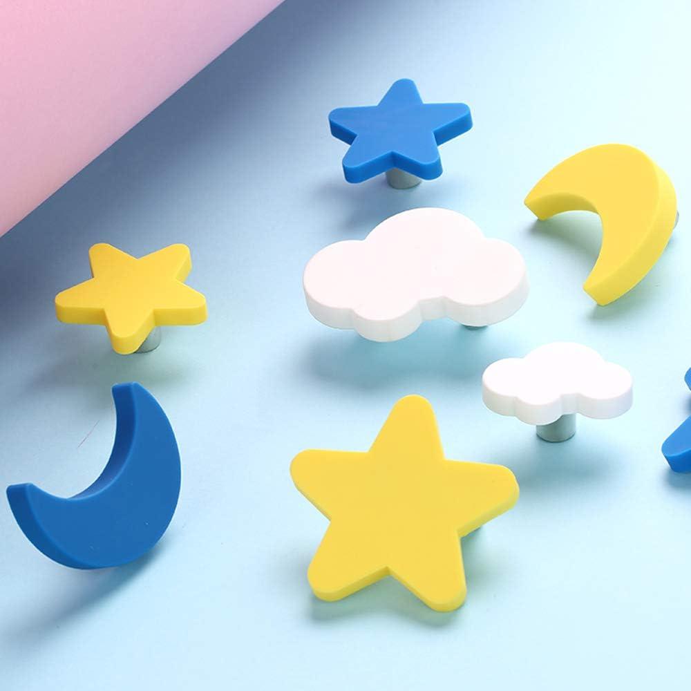 5 Tiradores De Dibujos Animados Para Ni/ños Muebles azul Cajones Bonitos Tiradores De Silicona Anticolisi/ón Adecuados Para Armarios Estrella azul // amarillo