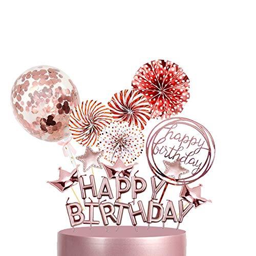 Rose Gold Geburtstag Cake Dekoration,Cake Topper,Tortendeko Kuchendeckel,Cupcake Topper,Happy Birthday Kerzen Konfetti LuftballonKrone Sterne Papierfächer,Tortendeko für Kinder, Mädchen,Baby Party