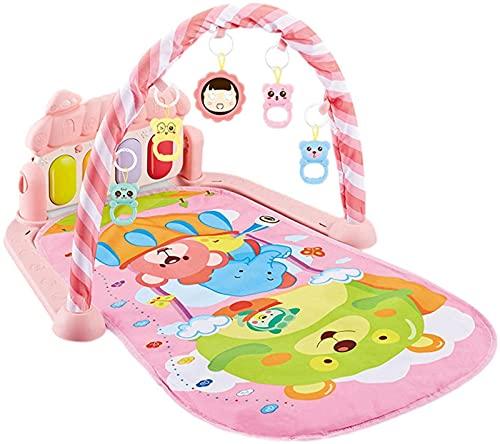 SummarLee Tapetes para Actividades De Gimnasio para Bebés, Tapete para Gatear con Juguete Colgante Desmontable, Juguete Musical De Piano Adecuado para Bebés De 0 a 3 a 12 Meses