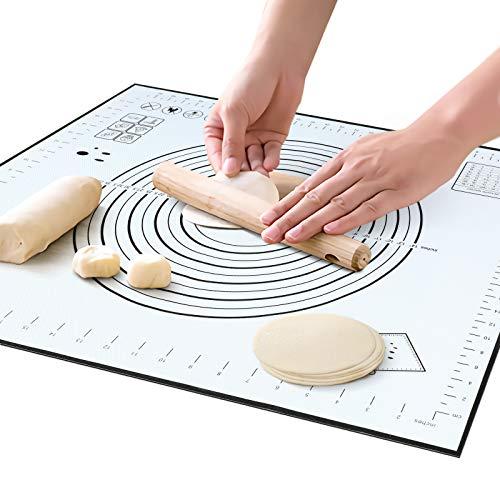 クッキングマット 調理 マット 製菓マット 大きいサイズ パンマット 目盛り付きマット 食品級シリコーン 滑り止め 調理 製菓道具 (40*50cm, ブラック)