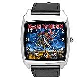 Reloj cuadrado de cuarzo negro correa de cuero real para fans de metal pesado