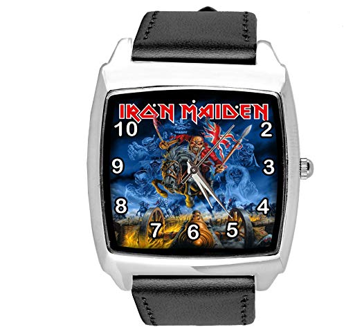 Quarz-Armbanduhr, quadratisch, schwarzes Echtlederband für Schwermetall-Fans