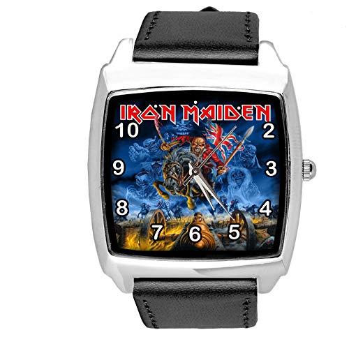 Reloj cuadrado de cuarzo negro correa de cuero real para fans de metal
