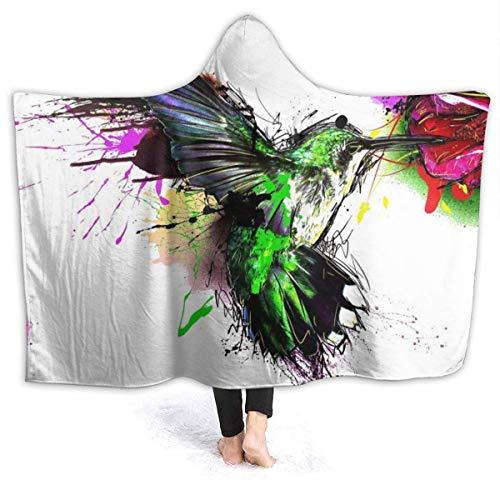 not applicable Flanell Fleece Decke Spritzende Kolibris Malen Kapuze Cape Flauschige Decken für Bett Couch Reisen | Decke mit Kapuze für Frauen/Männer/Jungen/Mädchen/Erwachsene