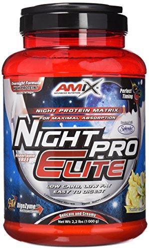 AMIX - Proteína Isolada Night Pro Elite - Gran Aporte de Aminoácidos Ramificados - Suplemento para Ganar Masa Muscular - Ideal para Batidos de Proteínas - Sabor Vainilla1 KG