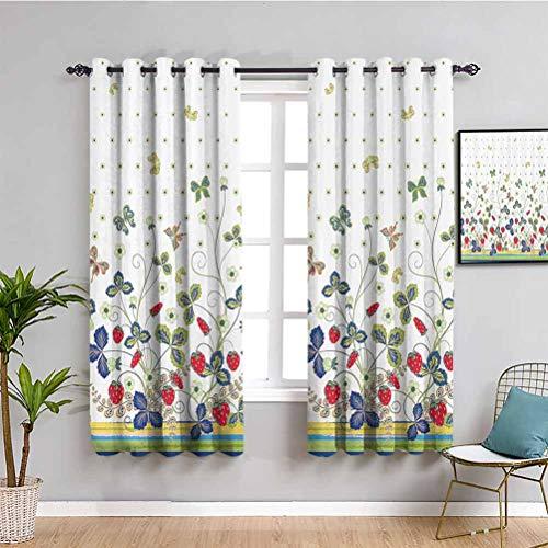 Cortinas opacas de alta calidad, diseño floral, diseño de hiedra con hojas arcos y mariposas fondo blanco con puntos tela impermeable multicolor W52 x L63 pulgadas