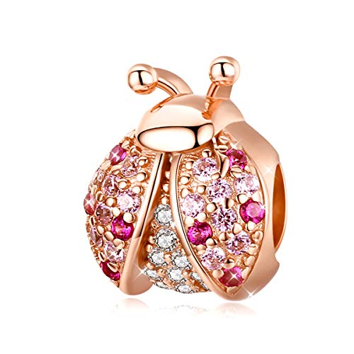 Marienkäfer-Anhänger, 925er-Sterlingsilber, rosévergoldet, rosafarbener Zirkonia, Insektenanhänger, Perlen, passend für Pandora-Armband, Halskette, DIY-Schmuck