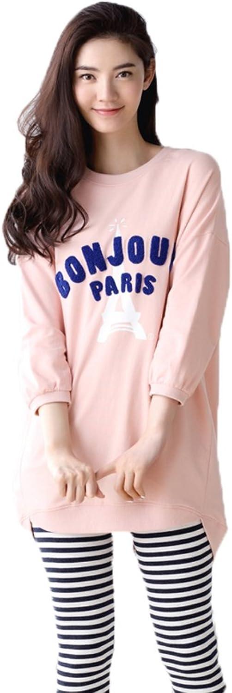 Mingxintech Womens Stripes Pants Cotton Pajama Set Sweet Pattern Bath Robe