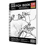 FIXSMITH 9'X12' Sketch Book   100 Sheets (68 lb/100gsm)   Durable Acid Free Drawing Paper   Spiral Bound Artist Sketch Pad   Ideal for Kids,Beginners,Artists & Professionals  Bright White