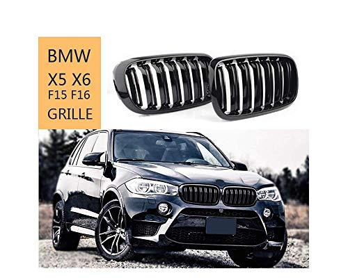 GY Front Nieren Kühlergrill kompatibel mit BMW X5 Serie F15 X6 Serie F16 X5M F85 X6M F86 2013-2021, ABS glänzend schwarz Doppellamellen Grill
