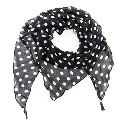 MANUMAR Schal für Damen einfarbig | Hals-Tuch in Punkte schwarz weiß als perfektes Herbst Winter Accessoire | Klassischer Damen-Schal | Stola | Mode-Schal | Geschenkidee für Frauen und Mädchen