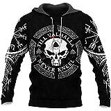 Skull Viking Tattoo Till Valhalla Never Kneel All Over Printed Pefect 3D Hoodie, Zip Hoodie, Sweatshirt