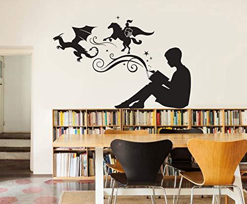 yaonuli muurstickers voor jongens, lezen, magisch boek, voor kamer, decoratie van het huis, bibliotheek, klaslokaal, wanddecoratie, zelfklevend