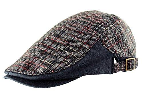 Homme Coton Country en tweed à carreaux simili cuir Casquette plate Golf Baker Boy Bleu marine