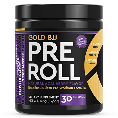 Gold BJJ PreRoll - Jiu Jitsu Pre Workout Supplement for Energy, Focus, and Endurance - Martial Arts Specific Pre-Workout Powder Formula with Natural Flavors (Acai Berry, 30 Servings)