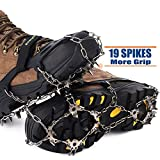 Songwin 19 Teeth Walk Traction Ice Cleat Spikes Crampons,True Stainless Steel Spikes And