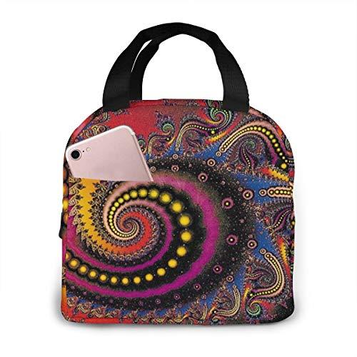 Oivla Psychedelisches Spiral-Symbol spirituell isolierte Lunch-Tasche Handtasche Lunchbox Gourmet Tote Food Container Aluminiumfolie für Outdoor Picknick