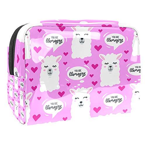 TIZORAX Smile Llama And Heart In Pink Trousse de maquillage en PVC Trousse de toilette de voyage organiseur pratique pour femme