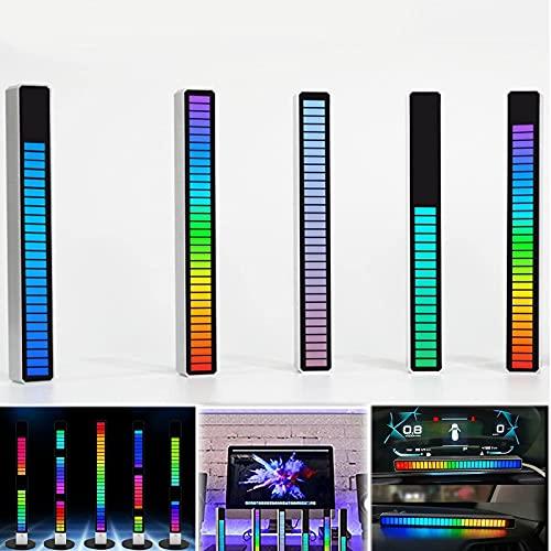 32-Bit Rgb Music Sound Control Level Light, Bar Light Music Atmosphere Rhythm Light, Music Spectrum Analyzer Party Usb Ambient Light Audio Rhythm Light, Brightness, Speed, Agc regolabile, Black