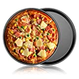 Pizza Baking Pan 11 Inch Nonstick, 2 Pack Perfect Result Nonstick Pizza Tray for Oven Baking Beef Chicken Meat Meal Prep Black Round
