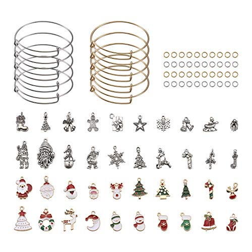 PandaHall 20pcs Golden & Sliver Expandable Bangle Bracelet Adjustable Bracelet Blanks with 36pcs Charms Pendants & 200pcs Open Jump Rings for DIY Bracelet Jewelry Making