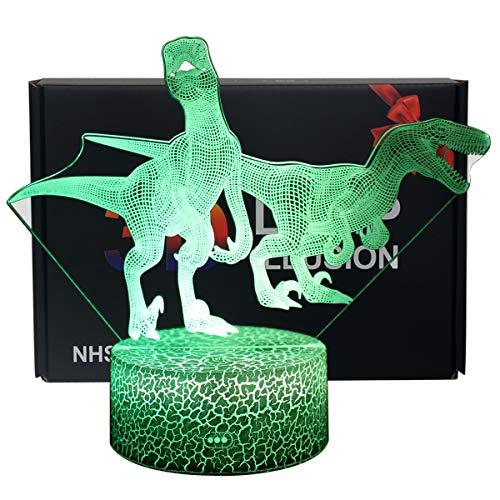 NHSUNRAY 3D Dinosaurio Luz de Noche Lámpara de Ilusión Dinosaurio LED Con Interruptor Táctil Lámpara de Noche 7 Colores Lámpara de Decoración de Cumpleaños San Valentín Regalo Para Niño y Adultos (D9)